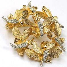 Boucher Swarm of Gold and Pave Bees Trembler Brooch 1966.