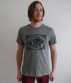 All Seeing Eye shirt Mens cotton screenprint by fancyclancy