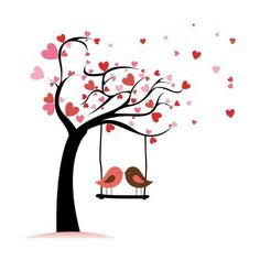 Illustration about Two birds in love on abstract tree with heart leaf. Illustration of painting, sketching, symbol - 32725246 Vogel Clipart, Bird Clipart, Tree Clipart, Clipart Images, Art Amour, Diy Wall Painting, Love Posters, Heart Art, Valentines Diy