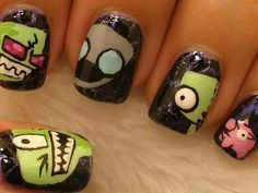 Invader Zim Nail Decoration! Amazing I learned so much about doing nails in this video! :)