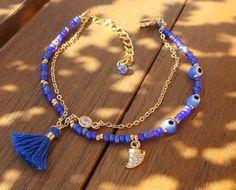 Blue Evil Eye Beaded Bracelet with Tassel