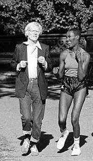 <3 Famous icons doing normal things - like jogging (hee hee) :) / Andy Warhol & Grace Jones in Central Park, 1978