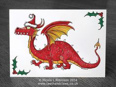 Red Dragon Christmas Card Welsh Dragon Christmas by TeethandClaws
