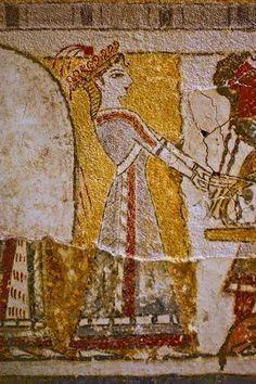 Hagia Triada: a priestess at the altar, detail of the Hagia Triada sarcophagus, 1400 BCE. Ancient Egyptian Art, Ancient Greece, Ancient History, Art History, Egyptian Mythology, British History, American History, Fresco, Minoan Art