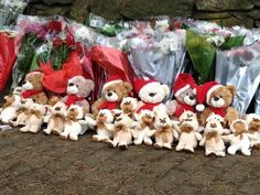 Wrenching snapshot by ABC's Sandy Cannold of teddy bears left all lined up at one of the living memorials in Newtown this weekend. http://abcn.ws/GCzAXs