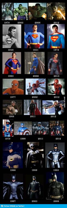 Superheroes - Then and Now. They're literally getting darker. I look forward to the day this fashion snaps back and we get proper superheroes in colourful outfits again!