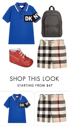 Back to school boy outfit by bornintowealth on Polyvore featuring Burberry Back to school boy outfit featuring BURBERRY Boys Beige Check Shorts, B.I.W red leather boy shoe, DKNY Boys Blue Logo Polo Shirt,