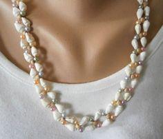 Perlenkette-Holzrondelle-Muscheln-Acrylwachsperlen