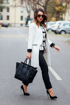 A posh black and white outfit, a fashion outfit that works in different variations.