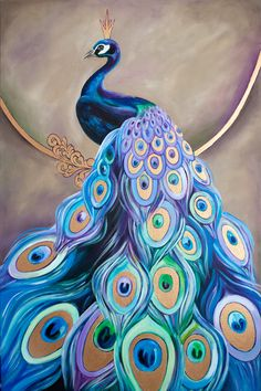 Peacock Painting by Inna Bagaeva. x x Gorgeous original painting… Peacock Drawing, Peacock Wall Art, Peacock Painting, Peacock Decor, Peacock Design, Peacock Bedroom, Peacock Colors, Peacock Images, Peacock Pictures