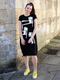 Trine Kryger Simonsen Jersey T-Shirt Dress with Print Adventure Outfit, Black Print, Shirt Dress, T Shirt, Short Sleeves, Seasons, Skirts, Blue, Clothes