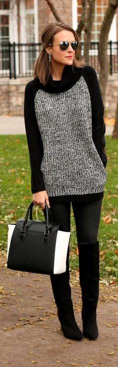 Fall fashion black and grey sweater Knit Fashion, Trendy Fashion, Fashion Black, Latest Fashion, Luxury Fashion, Fashion Trends, Diy Pullover, Penny Pincher Fashion, Fall Outfits