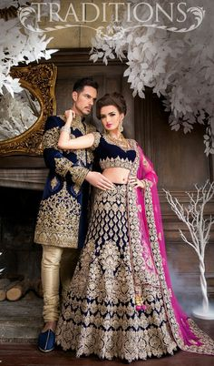 Dark blue gold lehenga Traditionsonline.co.uk