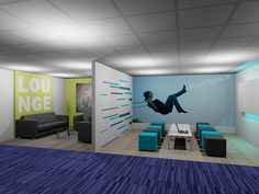 R4 Interior Design: Partitions are great for making use of a relatively small space - to include break-out rooms for employees and general welcome areas.