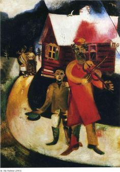 The Fiddler, 1914 - by Marc Chagall:  Before WW I, Chagall traveled St. Petersburg, Paris, Berlin. Created his own mixture/ style Modern Art based on his idea of Eastern European Jewish folk culture. Spent waryears in Soviet Belarus, one of country's most distinguished artists, member of Modernist Avant-Garde, founding Vitebsk Arts College before leaving again for Paris, 1922. http://www.biography.com/people/marc-chagall-9243488 http://www.wikipaintings.org/en/marc-chagall/the-fiddler-1914