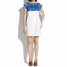 910ed44dbb52  175 Madewell Casita Shift Dress Embroidered Blue Diseño Artesanal
