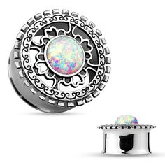 Opal Glitter Centered Antique Silver Plated Tribal Shield Top 316L Surgical Steel Double Flared Tunnels