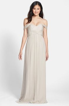 Bellini and blush Amsale Crinkled Silk Chiffon Gown available at #Nordstrom