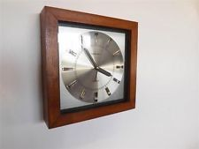 Retro 1970's teak framed Toshiba wall clock retro mid century £65