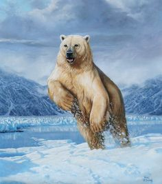 Título: Orso polare (oso polar) Artista: Roberto Bianchi Pintura al óleo sobre lienzo, vía fineartamerica.com