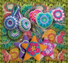 Crochet Star Pattern Amigurumi heart applique, flower star ornament, Instant Download Crochet Pattern