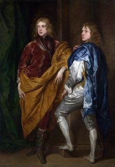 Style of Anthony van Dyck Portraits of Two Young Englishmen