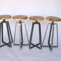 restaurant bar stools; custom restaurant furniture; steel furniture; steels furniture; rustic reclaimed wood furniture; Channel iron stool; factory looking furniture, metal stools; handmade industrial stools; reclaimed wood; trendy stools for a loft space; industry; modern furniture