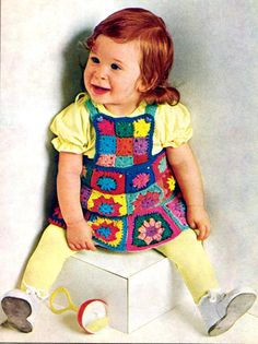 Vintage Crochet Pattern Granny Square Dress for Babies, Toddlers Instant Download pattern