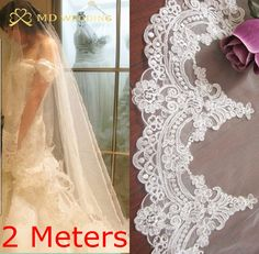 Real Photos 2017 2M White/Ivory Beautiful Cathedral Length Lace Edge Wedding Bridal Veil With Comb Wedding Accessories MD3074-2