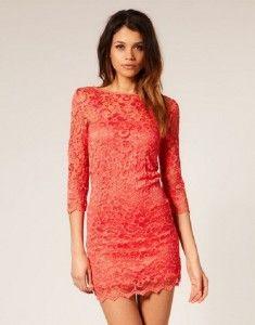 lace dress coral