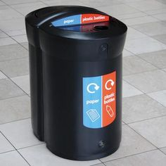Envoy™ Duo Recycling Bin collects two streams of waste in one space-saving footprint. These D-shaped recycling bins are designed to take up minimal space. #GlasdonUK #Recycling #Bin #RecyclingStation #WRAP #Defra #Recycle #RecyclingBins
