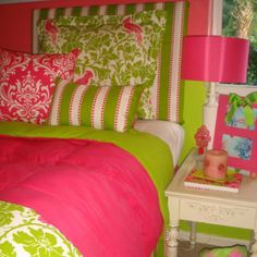 Preppy Bedroom, Preppy Dorm Room, Pink Green Bedrooms