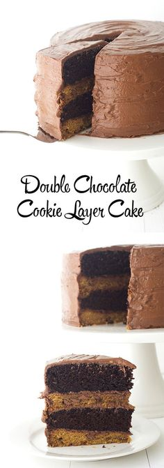Double Chocolate Cookie Layer Cake - Alternate layers of chocolate chip cookie and soft chocolate cake, all coated in sweet chocolate buttercream. Chocolate Chip Cookie Cake, Double Chocolate Cookies, Chocolate Buttercream, Cupcake Cakes, Cupcakes, Baby Cakes, Cake Boss, Cake Recipes, Sweet Recipes