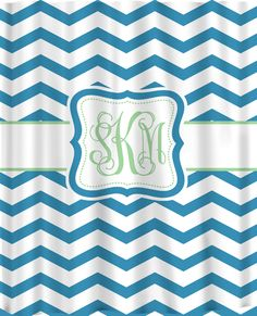 Custom Personalized Chevron Shower Curtain - Shown two different shades Blue Chevron with Lt Green Accent. $78.00, via Etsy. - Kids' bath?