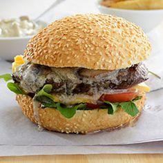 ostrich burger with mushroom sauce and potato wedges recipe - Clover Cream Venison, Beef, Ostrich Meat, Potato Wedges Recipe, Burger Night, Wild Game Recipes, Mushroom Sauce, Ground Meat, Burger Recipes
