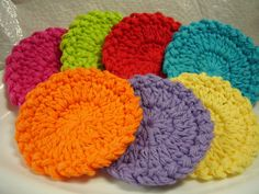 14 Facial Scrubbies - Bright Rainbow Colors - 100% Cotton - Set of 14 Scrubbies - Makeup Remover - Coasters - TREASURY ITEM 9.75