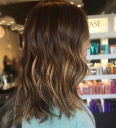 See this Instagram photo by @haleydoeshairs • #brunette #balayage #caramel #highlights #lob #curls #hair #style #color #curls #chocolate for more looks like this click the link to view Instagram profile,
