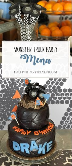 What's a Monster Truck Birthday without an awesome fun menu? Check out all easy truck themed foods for this Monster Truck Party Menu. Monster Truck Birthday, Monster Trucks, Monster Jam, Boy Birthday Parties, 4th Birthday, August Birthday, Kid Parties, Themed Parties, Cake Birthday