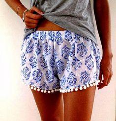 Comfy Blue & White Elastic Shorts   Fashionista Tribe