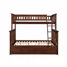 Harper & Bright Designs Espresso Twin Bunk Bed Over with Trundle Bed and End Ladder-SK000067AAP - The Home Depot Wood Bunk Beds, Bunk Bed With Trundle, Full Bunk Beds, Full Bed, Staircase Bunk Bed, Atlantic Furniture, Bed With Drawers, Under Bed Storage, Headboard And Footboard