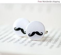Mustache party cufflinks  Movember  Gift for men by BeautySpot, $23.00