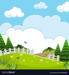 A beautiful nature landscape vector image on VectorStock Kids Backyard Playground, Backyard For Kids, Landscape Illustration, Book Illustration, Simple Backgrounds, Wallpaper Backgrounds, Scenery Drawing For Kids, School Frame, Islam For Kids