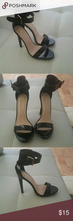 Black Ankle Strap Heel Canter Black Patent Classy Dress Stilleto Heel Heel- 5 inches My Delicious Shoes Shoes Heels