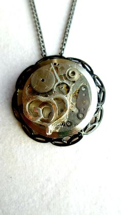 Steampunk Necklace Goth Abstract Vintage by SteampunkEarthstones, $42.00