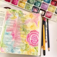 If your not sure about a new technique... Test it out in the front or back of your bible. I love adding little touches to those pages too! #fischtalesbible #illustratedfaith #journalingbible #biblejournaling #watercolor #colorinspiration #colortherapy by fischtales