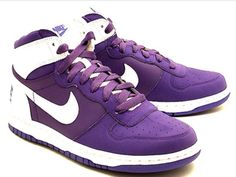 Nike Big Nike - Pure Purple / White The identical relative of the Nike Dunk has come up with another colorway set for release this month. The Nike Big Nike comes in a white/pure purple colorw Purple Sneakers, Purple Nikes, Sneakers Nike, Cute Shoes, Me Too Shoes, All Things Purple, Purple Stuff, Boys And Girls Clothes, Nike High Tops