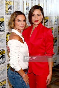 Actors Gabrielle Anwar (L) and Lana Parrilla at the 'Once Upon A Time' Press Line during Comic-Con International 2017 at Hilton Bayfront on July 22, 2017 in San Diego, California.