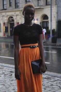 Orange skirt, orange hair