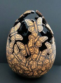 """""""I view my artwork as a creative interaction with Mother Nature by simply accenting its natural beauty while maintaining the individual uniqueness of the calabaza (gourd)"""". - Tia L. Flores"""