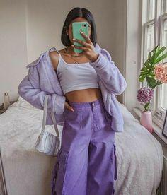 #monocromatico #roxo #purple #summer #estilo #style #loja #store #fashion #moda Indie Outfits, Purple Outfits, Teen Fashion Outfits, Retro Outfits, Cute Casual Outfits, Vintage Outfits, Girl Outfits, Indie Clothes, 90s Clothes